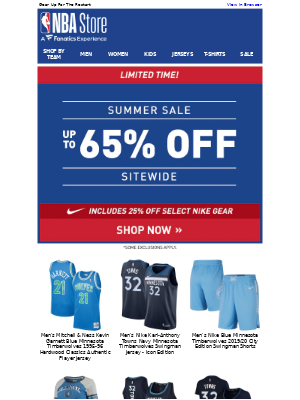 National Basketball Association (NBA) - Unbeatable Deals-- Summer Styles Up to 65% Off