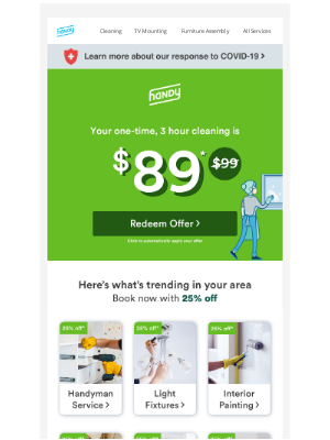 Handy - Need a One Time Cleaning? Book now for only $89!
