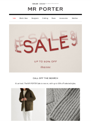 MR PORTER - SALE: up to 50% off coats, knits and more