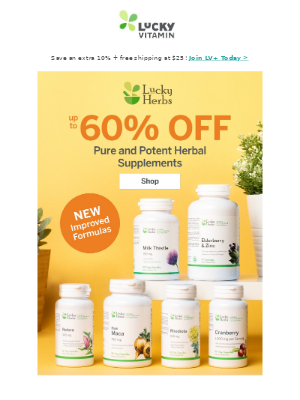 Save Up to 60% Off Pure & Potent Herbals
