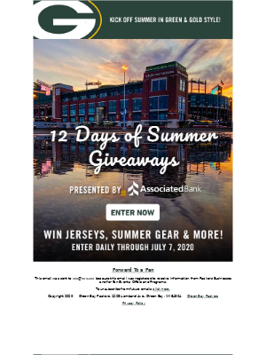 Don't miss the 12 Days of Summer Giveaways! ☀️ 🏈