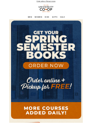 University Co-op - Get your Spring Semester Books!