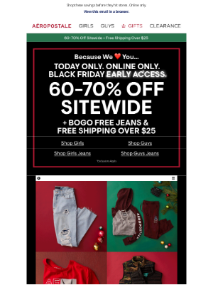 Aeropostale - ONE DAY ONLY: Black Friday Early Access Starts Now!