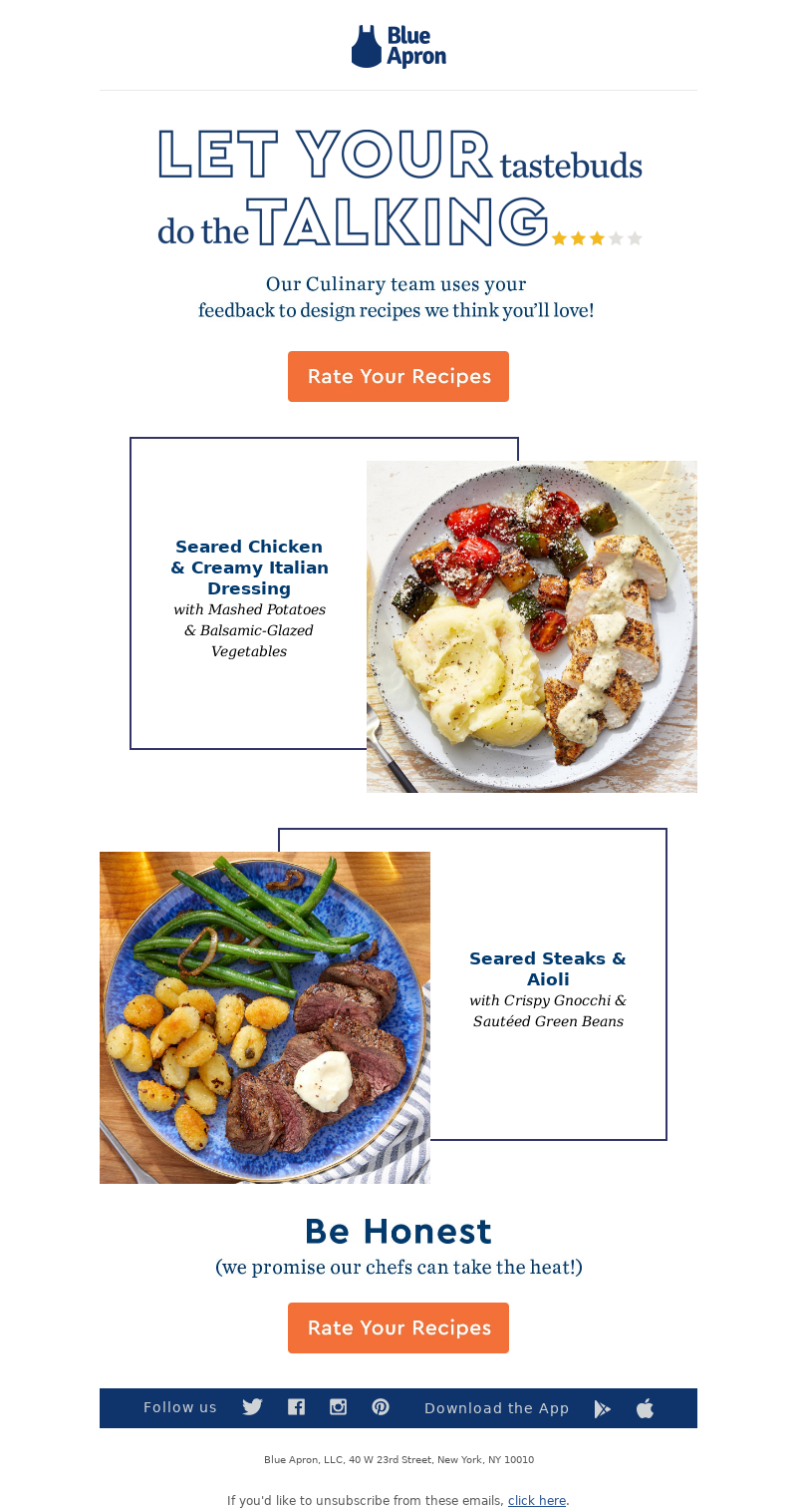 Ask for feedback email from Blue Apron