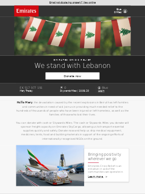 Emirates - Donate cash or Skywards Miles in aid of Lebanon