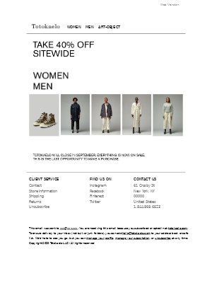 Take an additional 40% off everything