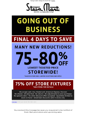 Stein Mart - New reductions! 4 days left!