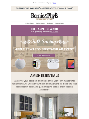 Bernie & Phyl's Furniture - 🍂 Fall Savings Spectacular! Get a FREE Apple Device! 🍂