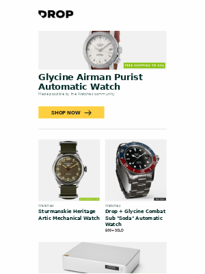Glycine Airman Purist Automatic Watch, Sturmanskie Heritage Artic Mechanical Watch, Drop + Glycine Combat Sub