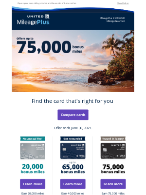 United Airlines - Earn more miles every day + offers up to 75K miles