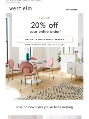 We STILL miss you: Don't forget about your 20% off!