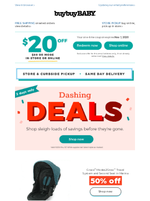 buybuy BABY - 3 days only!Save on our dashing deals before they🌬️disappear! + this coupon is available.