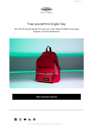Eastpak - Your special Singles' Day discount