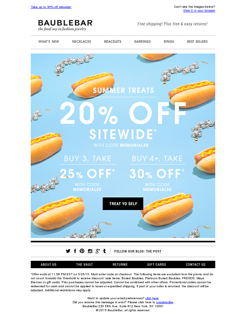 Take up to 30% off sitewide! Can't see the images below? View it in your br
