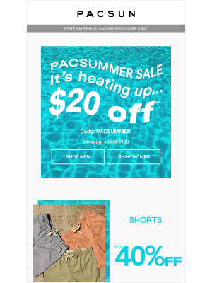 $20 Off Shorts, Swim, & Graphics (on top of 40% off!)