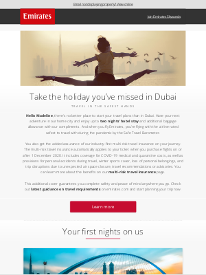 Emirates - Multi-risk travel insurance and 2 nights' hotel stay in Dubai on us