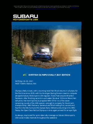 Subaru of America - MOTORSPORTS NEWS: DIRTFISH OLYMPUS RALLY 2021