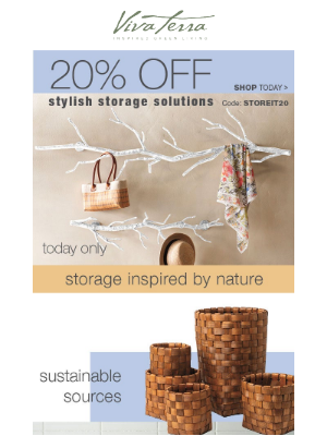 VivaTerra - Today only! 20% off Styled-out storage