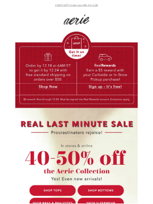 American Eagle Outfitters - 40-50% off the ENTIRE Aerie Collection
