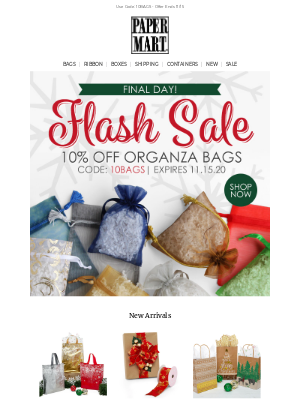 Paper Mart - Final Hours! 10% Off Organza Bags Ends Tonight