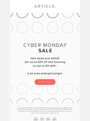 Article - One day only: the Cyber Monday Sale