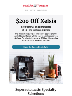 Seattle Coffee Gear - Save On the Saeco Xelsis 😃