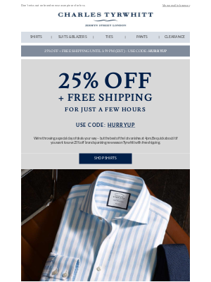 25% off and free shipping - but only 'til 4pm