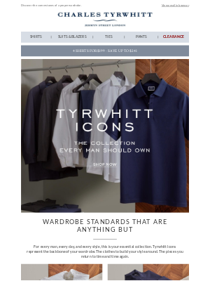 Tyrwhitt Icons. The collection every man should own.