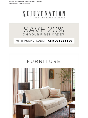 Need a living room refresh? Save 20% on lamps, furniture, rugs, and more