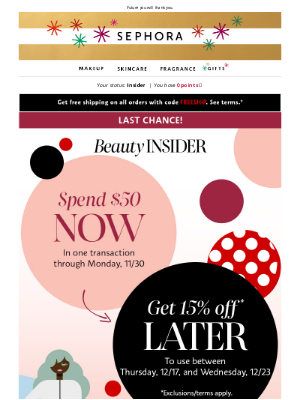 Sephora - Almost over! Don't miss your chance to get 15% off—shop now.