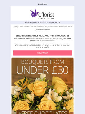 eFlorist (UK) - Oops - We're Sorry It Looks Like Something Went Wrong With Our Previous Email