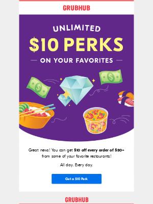 Save $10 on your favorite restaurants