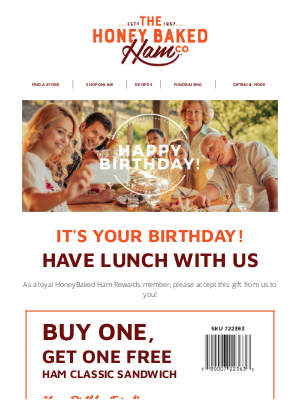 HoneyBaked Ham Online - Happy Birthday! Have lunch with us!