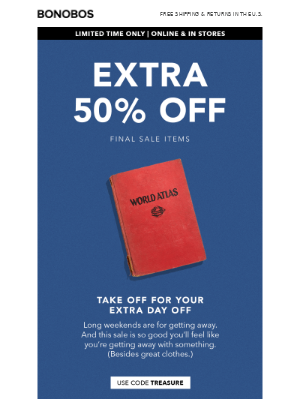 Oh, you want more off? Extra 50% it is.