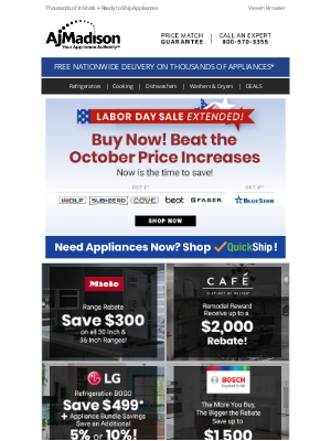 AJ Madison - The savings continue...Our Labor Day Sale has been extended!