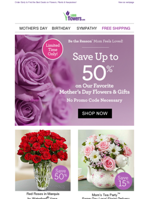 Order Early to Find the Best Deals on Flowers, Plants & Keepsakes! View as