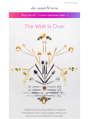 ABC Carpet & Home - it's back! the stunning flatware that keeps selling out