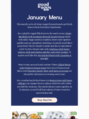 Good Eggs - Our January Menu