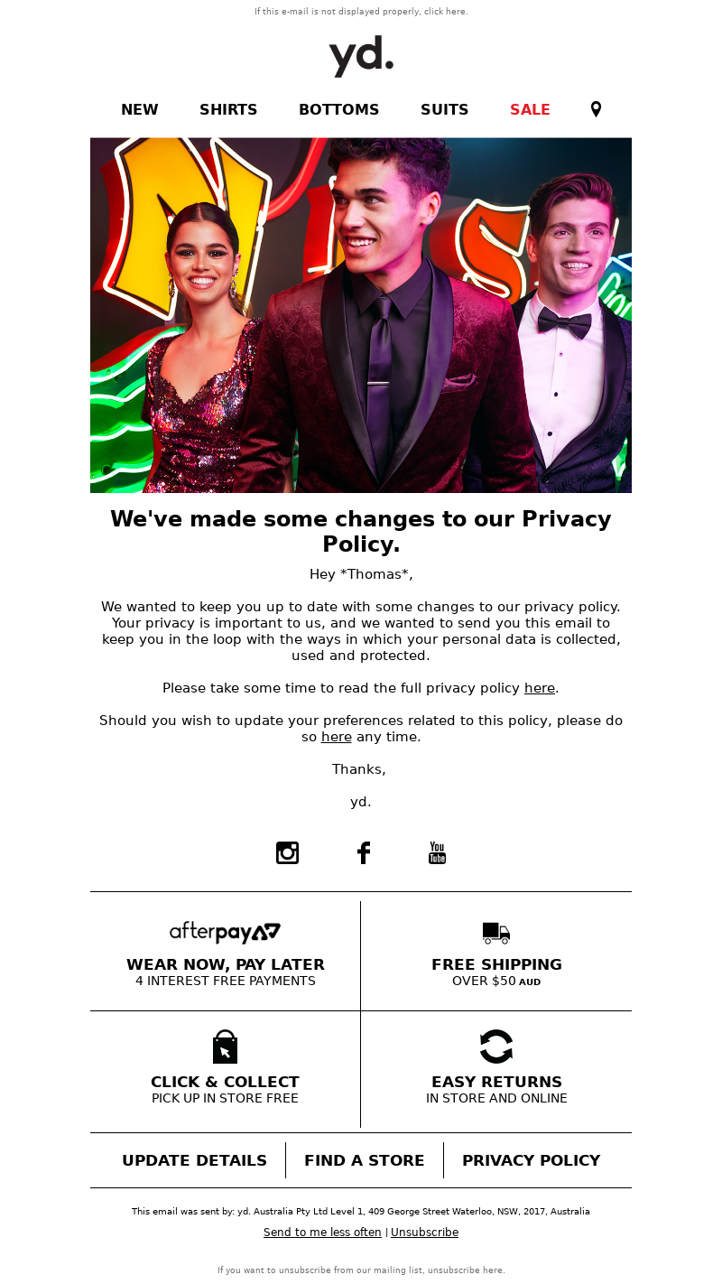 Yd AU - Thomas, we've updated our Privacy Policy
