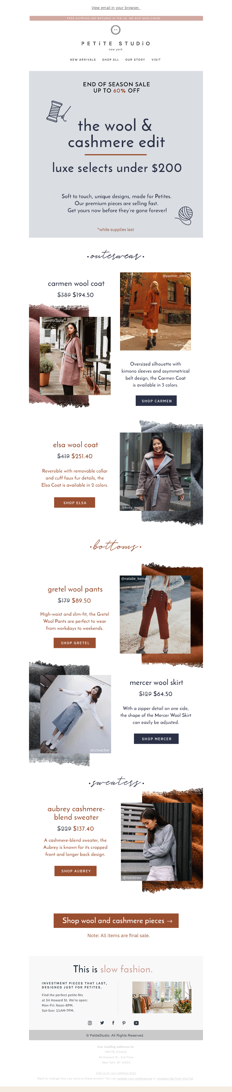 Petite Studio - Wool & Cashmere Under $250