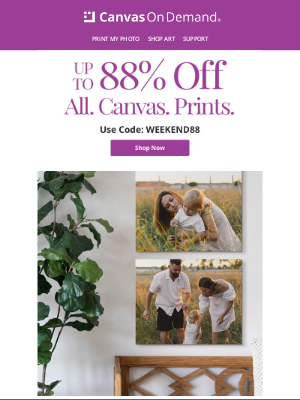 Canvas On Demand - Four Canvas Sizes, Four Ways To Save