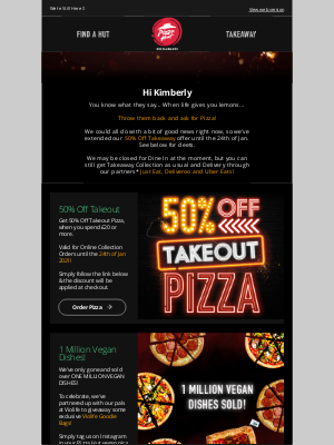 Pizza Hut (UK) - Need a Lockdown Lift? How about 50% Off Pizza?