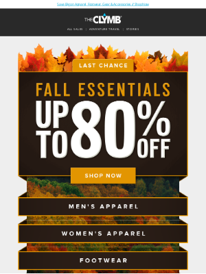 The Clymb - Last Chance: Fall Essentials Up to 80% Off