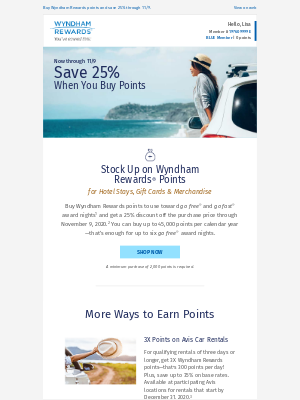 Wyndham Hotel Group - Stock Up on Points with 25% Off