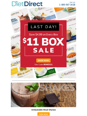 Diet Direct - Last Day For Our BIG $11 Box Sale