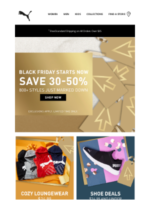 PUMA USA - Black Friday is on! 30-50% off starts now.