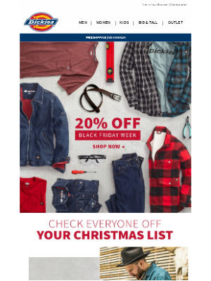 Dickies - 20% Off Gifts for The Family