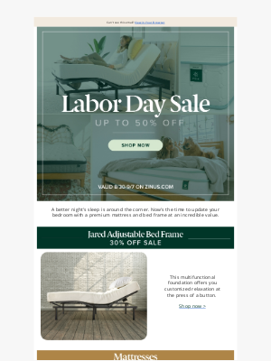 Zinus - Don't snooze on our Labor Day Sale