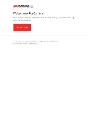 Ritz Camera - Customer account confirmation