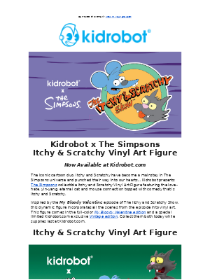 Kidrobot - The Simpsons Itchy & Scratchy Come to Life Today!